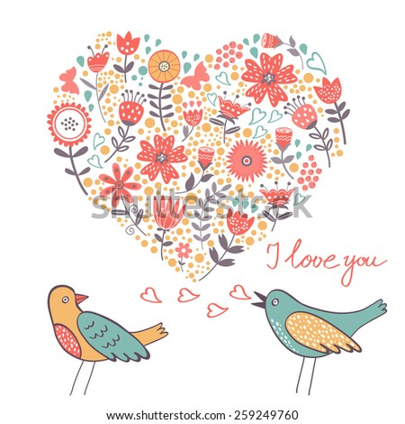 Love concept card with birds couple. Ideal for wedding invitations, greeting cards and valentines day cards  - stock vector