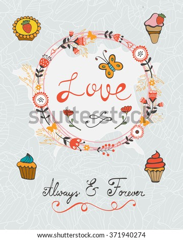 love concept card with cupcakes and floral wreath - stock vector