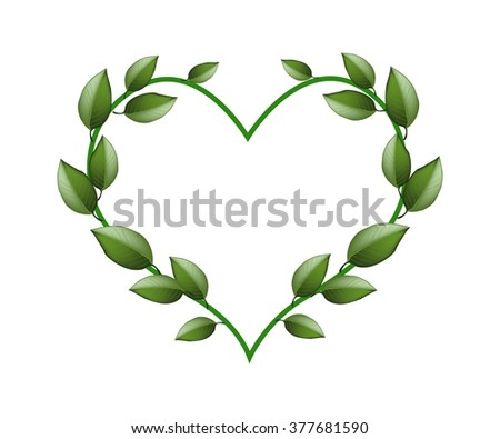 Love Concept, Illustration of Heart Shape Made of Green Vine Leaves Isolated on White Background. - stock vector