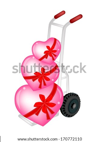 Love Concept of Hand Truck or Dolly Loading Three Lovely Hearts, A Perfect Gift or Present for Someone Special.  - stock vector