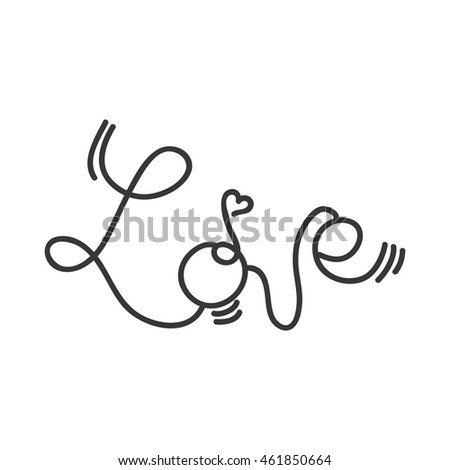 Love concept represented by text and heart shape icon. Isolated and flat illustration