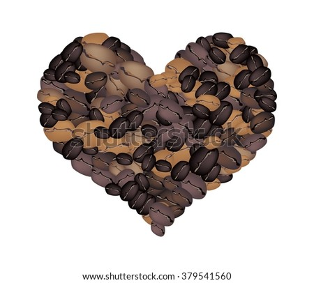 Love Concept, Various Colors of Roasted Coffee Beans Forming in A Heart Shape Isolated on A White Background - stock vector