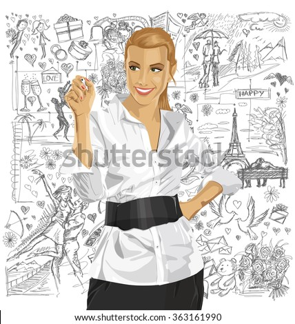 Love concept. Vector Business woman writing something against background with love story elements - stock vector