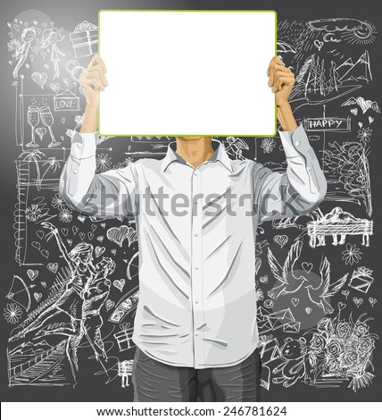 Love concept. Vector Man with write board in his hands against love story elements background