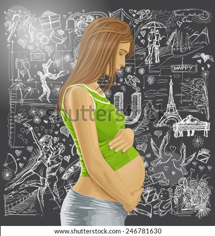 Love concept. Vector pregnant female with tummy, waiting for new life against love story elements background - stock vector