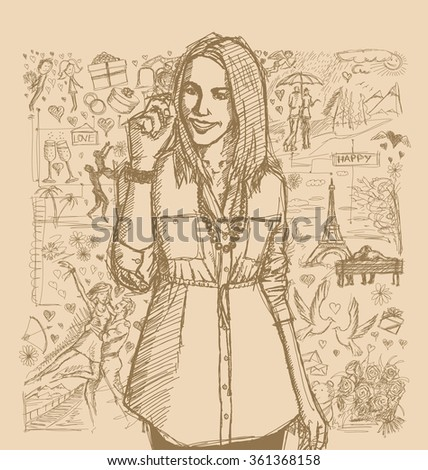 Love concept. Vector Sketch, comics style business woman writing something, against background with love story elements
