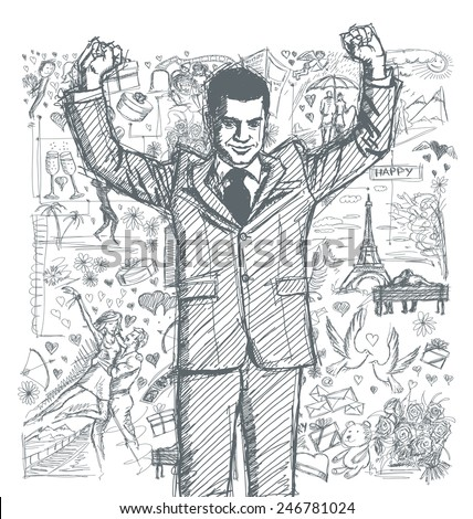 Love concept. Vector Sketch, comics style happy businessman with hands up, celebrating his victory, against background with love story elements - stock vector
