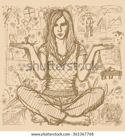 Love concept. Vector Sketch, comics style woman in lotus pose with open hands, against background with love story elements - stock vector