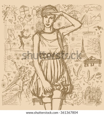 Love concept. Vector Sketch, comics style woman looking on camera, with hand near her head, against background with love story elements - stock vector
