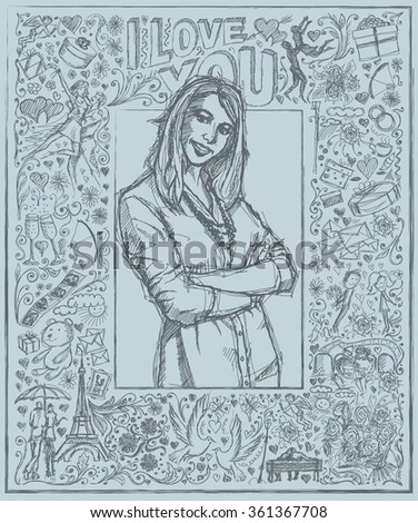 Love concept. Vector Sketch, comics style young business woman with crossed hands , against background with love story elements - stock vector