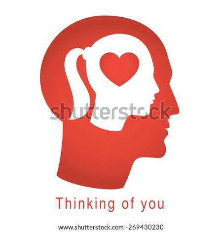 Love concept with head of man, woman and heart silhouette. Concept vector illustration of love is inside us. - stock vector