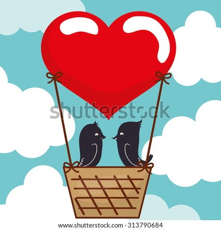 love concept with heart and cartoon bird design, vector illustration 10 eps graphic.