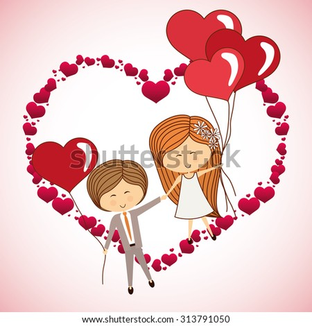 love concept with heart and cartoon couple design, vector illustration 10 eps graphic.  - stock vector