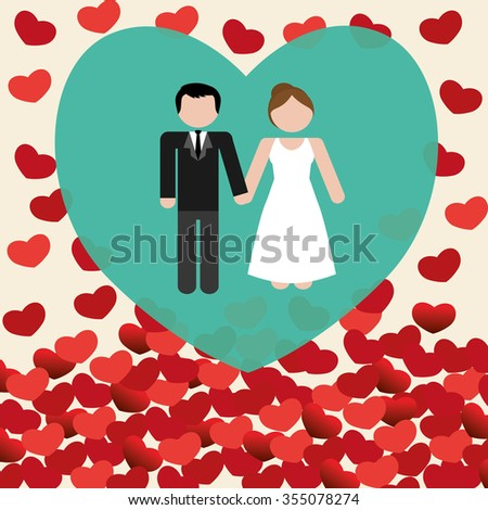 Love concept with romantic icons design, vector illustration 10 eps graphic.