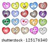 Love Concepts, An Illustration Set of Multi Colors Heart Icons & Symbols with Different Facial Emotions Isolated on A White Background - stock vector