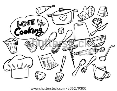 kitchen tools coloring pages - baking utensils stock images royalty free images