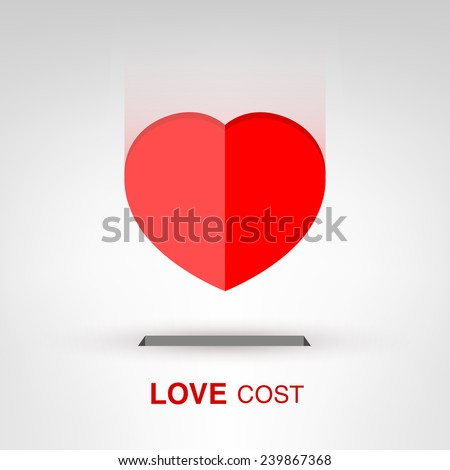 Love Cost - creative Valentines Day heart-shaped coin concept vector illustration - stock vector