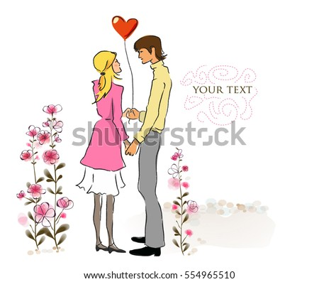 Love couple in love in a park. Vector illustration