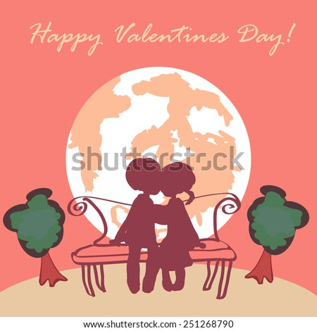 Love couple on the pink sky earth-set background with trees around. Vector illustration. Happy valentines day!  - stock vector