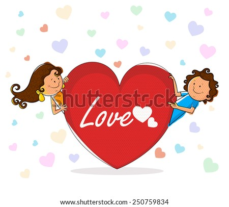 Love couple with heart for Valentine's day in vector - stock vector