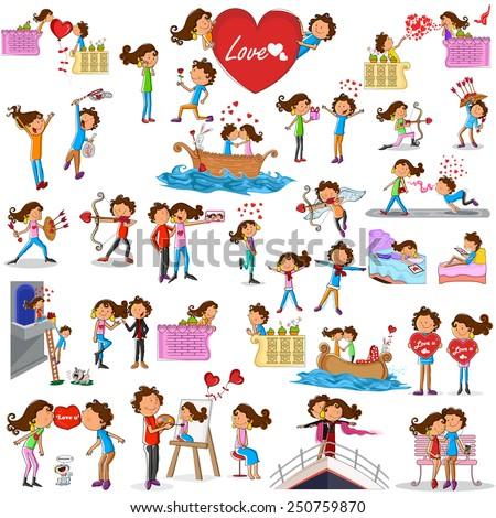 Love couples doing different activities in vector - stock vector