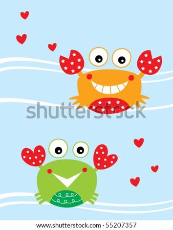 love crab couple - stock vector