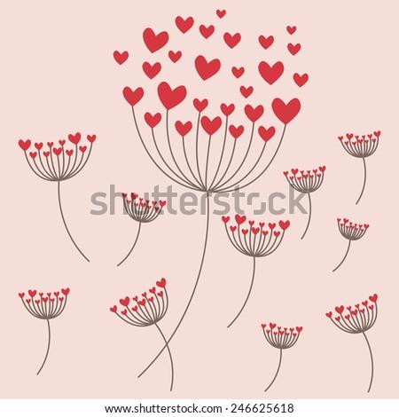 Love dandelion flying in the sky - stock vector