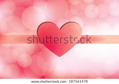 Love Day Heart on Red Background - stock vector
