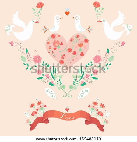 love decorations set - stock vector