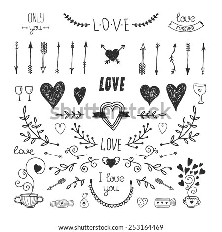 Love Decorative Vintage Elements Hand Drawn Stock Vector