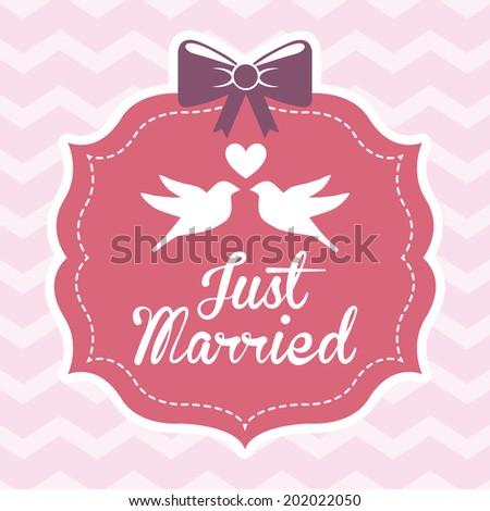 love design over waves background vector illustration - stock vector