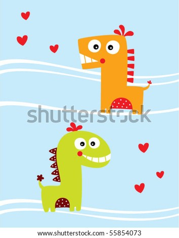 love dinosaur couple - stock vector