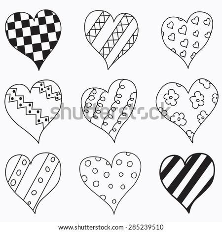 Love Doodle: Hand drawn heart love doodle. - stock vector