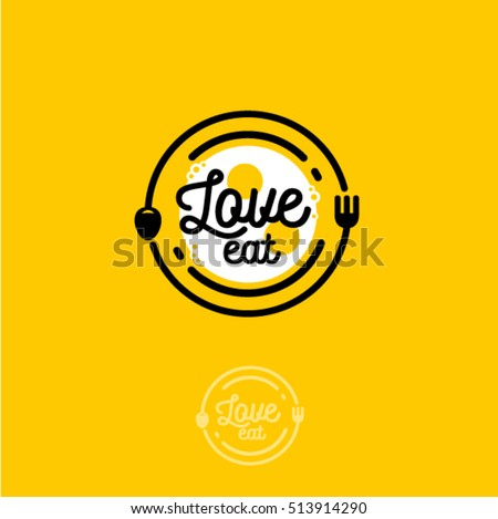 Love Eat logo. Cafe or restaurant emblem. Plate with fork, spoon and fried eggs in the yellow background.