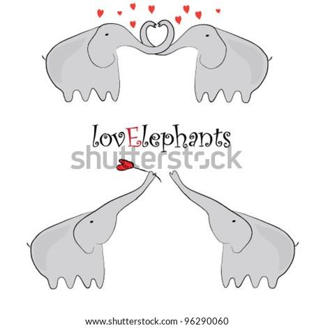 love elephants - stock vector