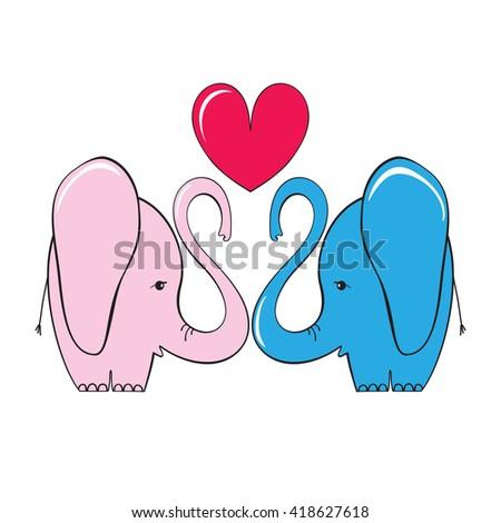 Love elephants. Vector illustration - stock vector