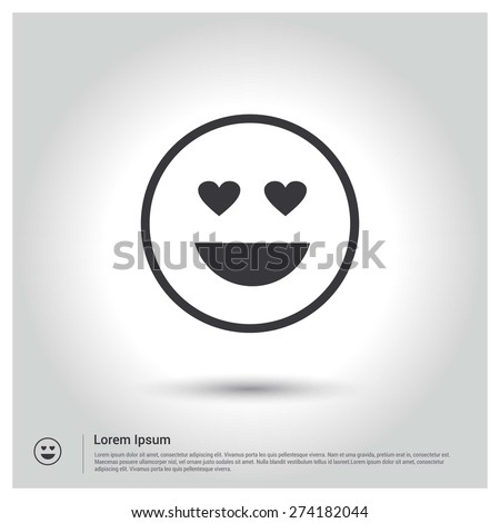 love emotion smiley icon, Flat pictograph Icon design gray background. Vector illustration. - stock vector