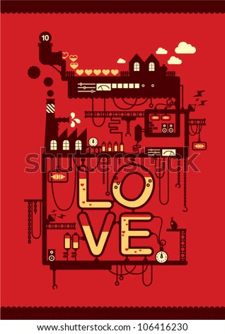 love factory/ valentine's day card poster deign - stock vector