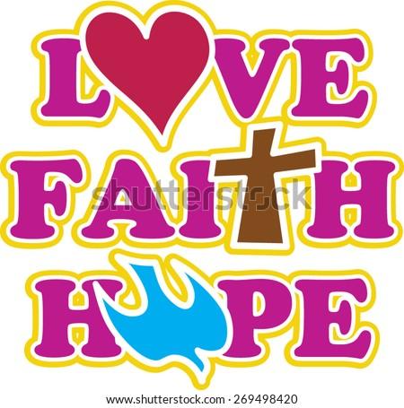 love faith - stock vector