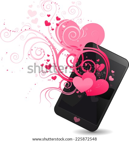 Love feeling smart phone, with beautiful pink hearts in different sizes pattern vector illustration. - stock vector