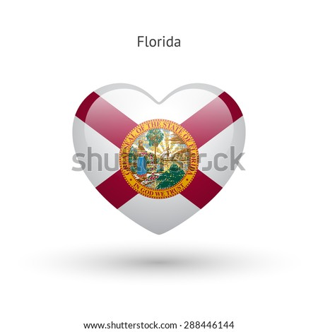 Love Florida state symbol. Heart flag icon. Vector illustration. - stock vector