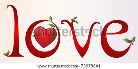 Love font design - stock vector
