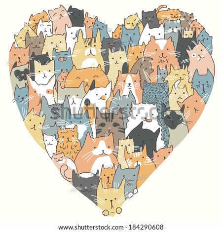 Love for Domestic Cats - stock vector