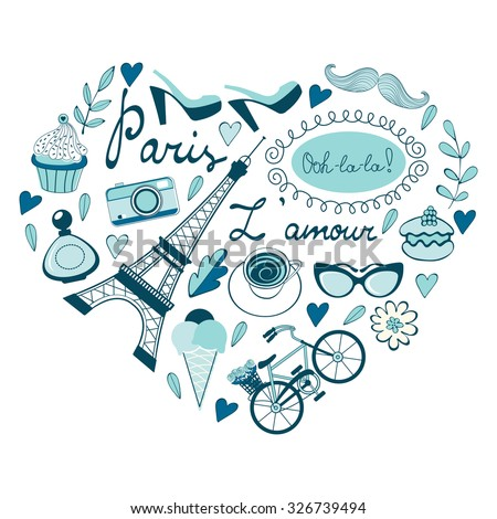 Love for Paris concept card. Paris related icons in heart shape composition. Vector illustration