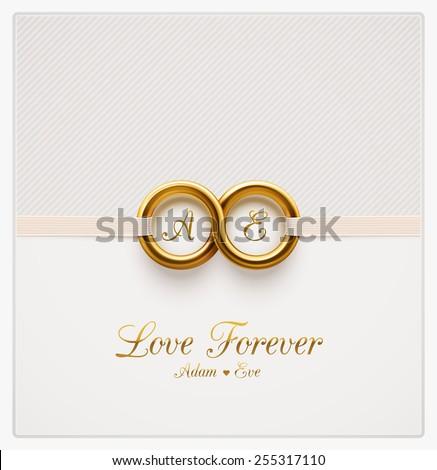 Love forever, wedding invitation, eps 10 - stock vector