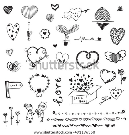 love free hand doodle outline heart shape,flower, symbol of valentine on white background