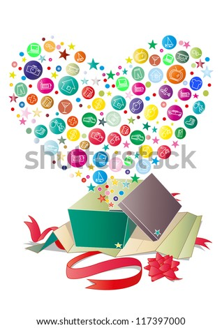 Love gift - stock vector