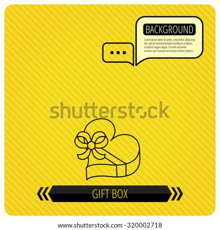 Love gift box icon. Heart with bow sign. Chat speech bubbles. Orange line background. Vector - stock vector