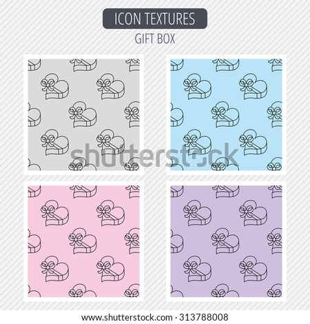 Love gift box icon. Heart with bow sign. Diagonal lines texture. Seamless patterns set. Vector - stock vector