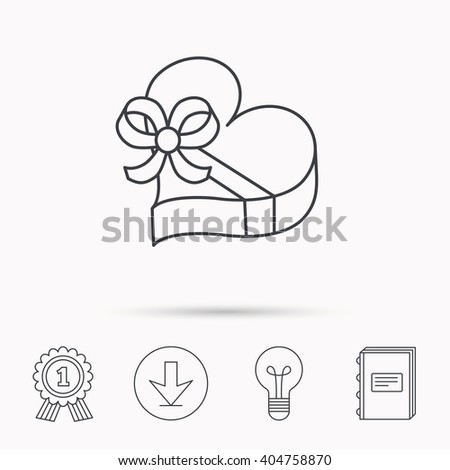 Love gift box icon. Heart with bow sign. Download arrow, lamp, learn book and award medal icons. - stock vector